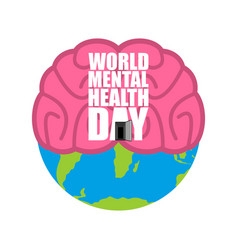 World mental health day brain and earth vector
