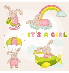 Baby Bunny Set - Baby Shower or Arrival Card vector image vector image