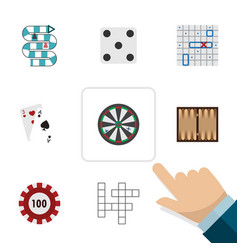 flat icon play set of sea fight dice arrow and vector image
