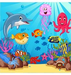 funny cartoon sea life for you design vector image