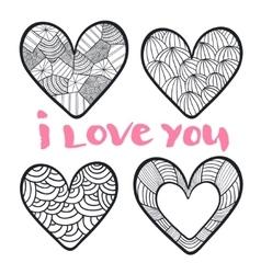 Hearts set in zentangle style vector image