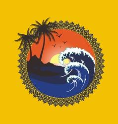 sunset beach vector image