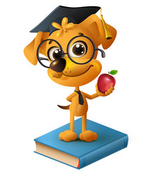 yellow dog teacher holding red apple vector image