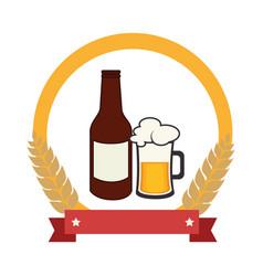 color emblem with beer bottle vector image vector image