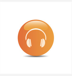 headphones icon on a orange button and white vector image