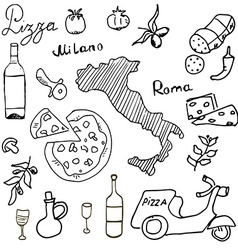 Italy doodles elements Hand drawn set with pizza vector image vector image