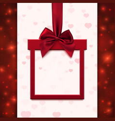 Red banner with ribbon and bow in form of gift vector image