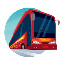 round emblem with a modern passenger city bus vector image