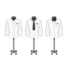 set of white shirts with tie bow-tie on vector image