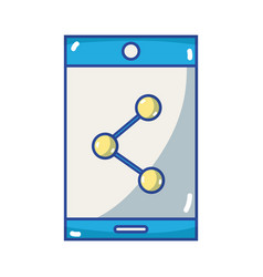 smartphone technology with share connection icon vector image vector image
