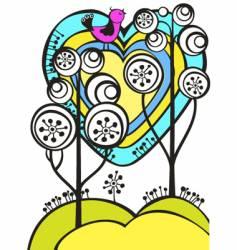 trees bird vector image
