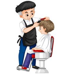 barber giving boy haircut vector image
