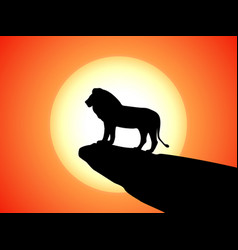 black silhouette lion on rock cliff sunset vector image