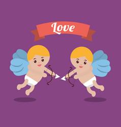 love couple cupid bow arrow banner design vector image vector image