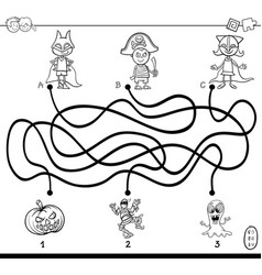 paths maze with kids coloring book vector image