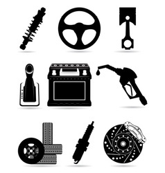 set icons of car parts black and white vector image vector image