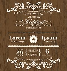 Vintage typography Wedding invitation template vector image