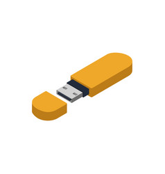yellow usb drive isometric 3d icon vector image