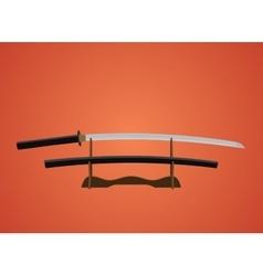 katana sword samurai japanese with red background vector image