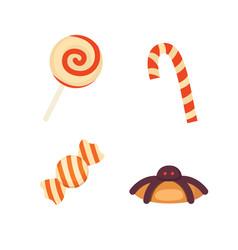 set hallowen candys in cartoon vector image vector image