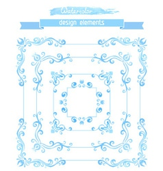 set of vintage watercolor frames vector image