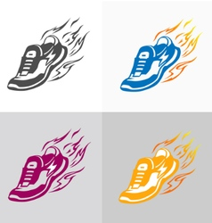 Sport and fitness logo Running shoe icons vector image