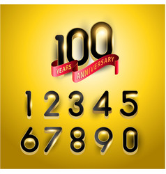 100 years gold anniversary logo with red light vector image