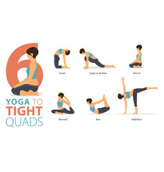 6 yoga poses for tight quads concept vector image