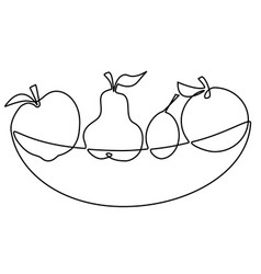 abstract fruits one line drawing design vector image