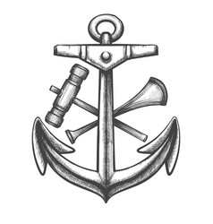 anchor and shipyard tools sailor tattoo vector image