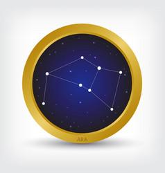 Ara constellation in golden circle vector