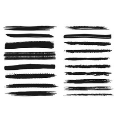 Art brush line and stroke charcoal smear set vector