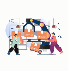 automated delivery process flat style vector image