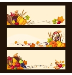 Autumn Banners with Ripe Vegetables Fruit and vector