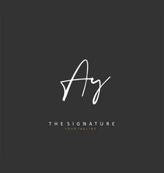Ay initial letter handwriting and signature logo vector