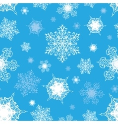 Azure Blue White Ornate Snowflakes Seamless vector