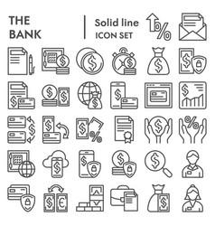 bank line icon set finance symbols collection vector image
