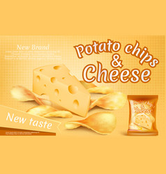 Banner with crispy potato chips and cheese vector