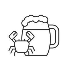 Beer mug with crab linear icon vector