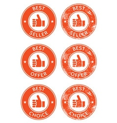 Best seller choice offer retro grunge badges vector image vector image