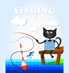 Black cat on fishing vector