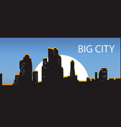 blue banner big city night city illuminated by vector image