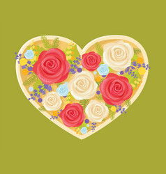 bouquet of flowers in heart vector image