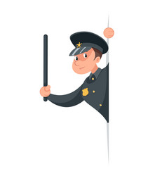 brave policeman character cartoon police law vector image