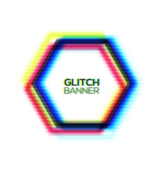 Broken glitch hex sign of rgb cmyk colors channel vector