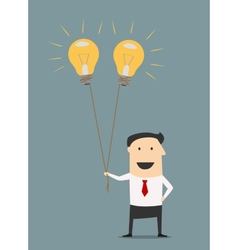 Businessman with idea bulb balloons vector image