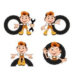 cartoon character a car workshop worker vector image