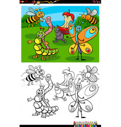 Cartoon funny insects group coloring book page vector