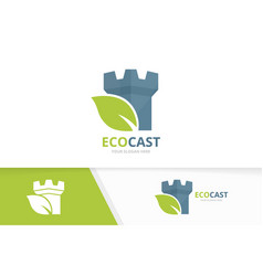 Castle and leaf logo combination tower and vector