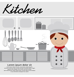 Chef In Kitchen vector image